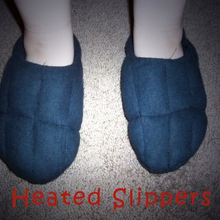 Heated Slippers - This will show you how to make microwaveable heated slippers using rice.
