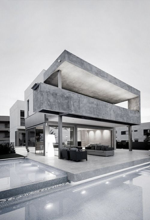 This image shows a building made from just concrete. It represents how the material can be used in a varity of ways. Although I think the colours make the building look cold, the concrete creates a relaxed and interesting atmopshere.