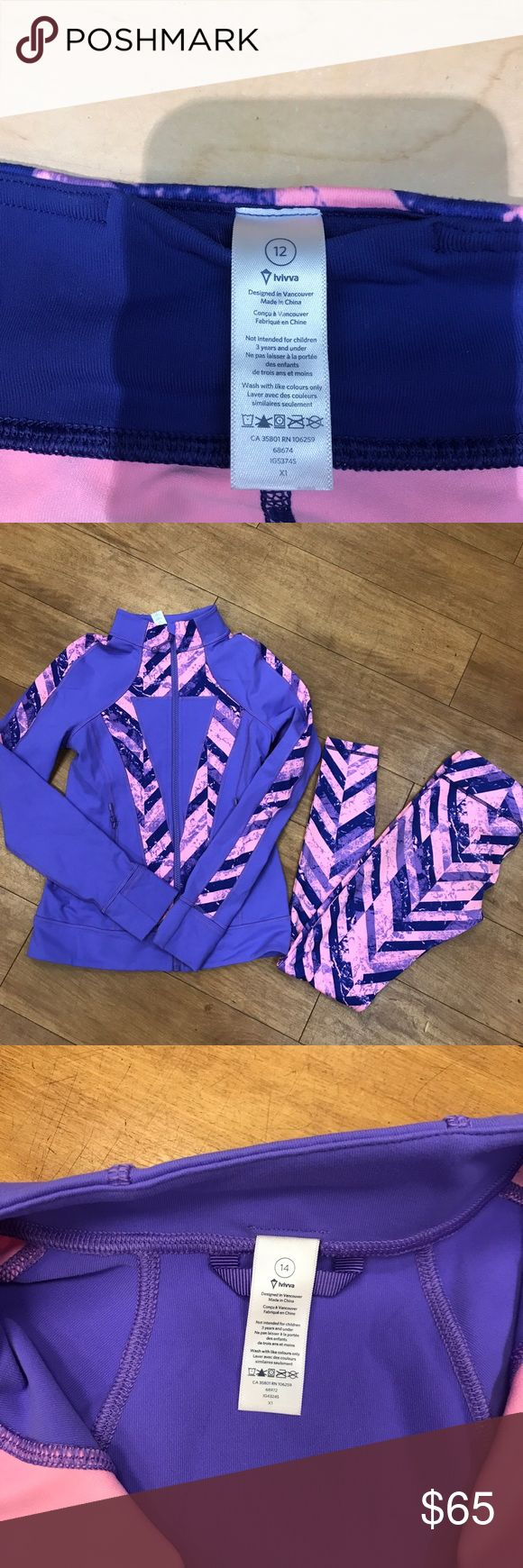 Lululemon KIDS - Ivivva 2 pc track suit Jacket a size 14 and leggings size 12. In perfect shape. Feel free to make an offer Ivivva Matching Sets