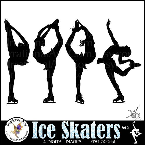 INSTANT DOWNLOAD Ice Skaters set 2  with 4 Female skaters Clip Art digital graphics