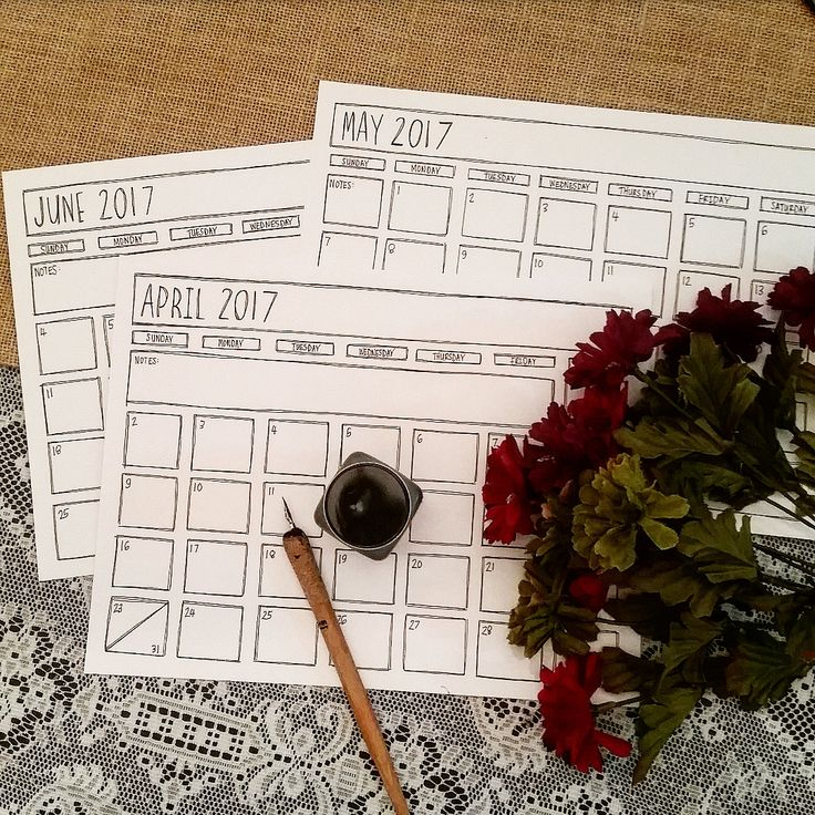 Printable April May June 2017 Calendar Set - Black & White Calendar - April May June 2017 - Minimalist Quarterly Calendar - 2nd Quarter by TiaraDeeArt on Etsy