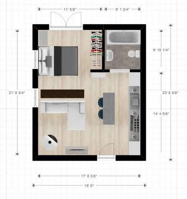18 Coolest Studio Apartment Layout Decoratoo Studio Apartment Floor Plans Studio Floor Plans Apartment Layout