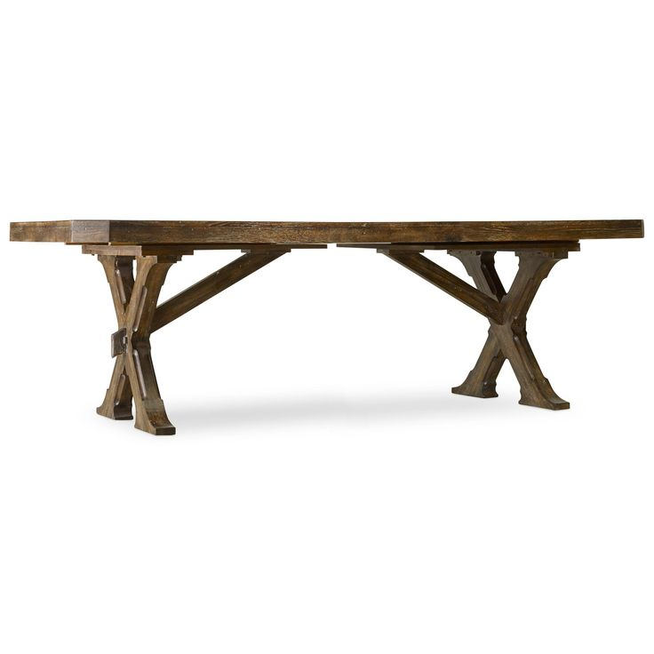 """Hooker Furniture 5343-75200 Willow Bend Rectangle Trestle Table in Dark Wood with 20"""" Two Leaves"""