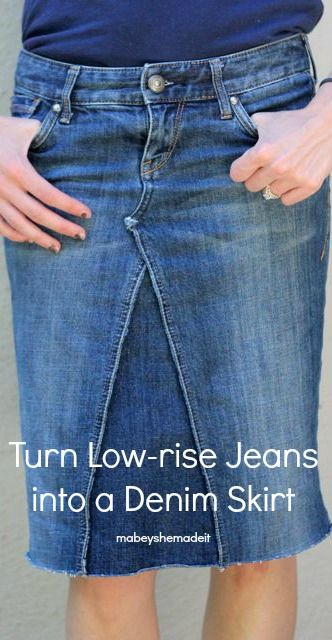 Turn a pair of low-rise pants to skirt using this refashion variation on the Panelist Skirt. These jeans no longer have a rise issue to worry about!