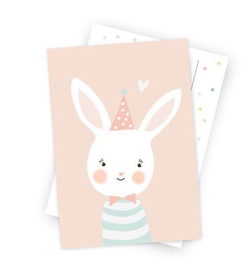 Ansichtkaart Konijntje Een kaartje in zacht roze met een konijntje. Leuk om te versturen of te gebruiken als muurdecoratie in een meisjeskamer.