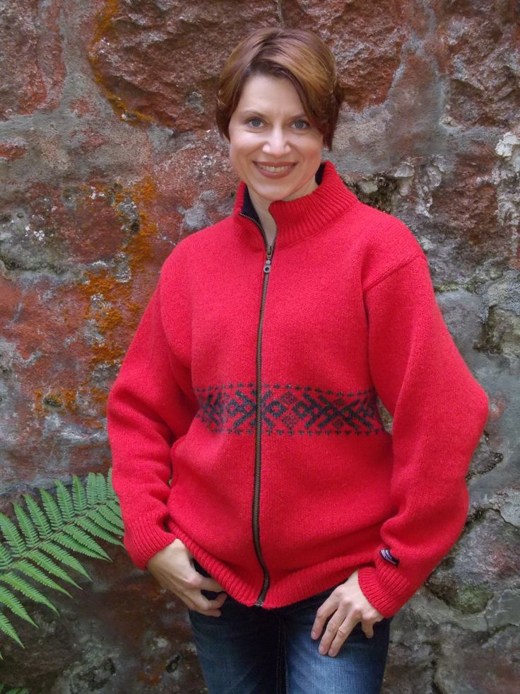 Lovely red cardigan by Norwool, Norway. Nice and warm, you would love it, as I do:)