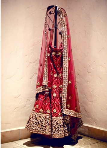 Red bridal lehenga.