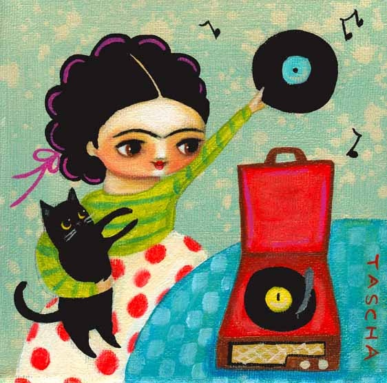 frida the dj, tascha. something to do in yr art journal --a person happily living alone with kitty