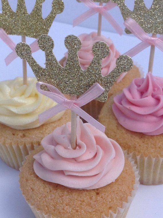 Rosa y oro brillo corona Cupcake Toppers primeros de por Cardoodle Más
