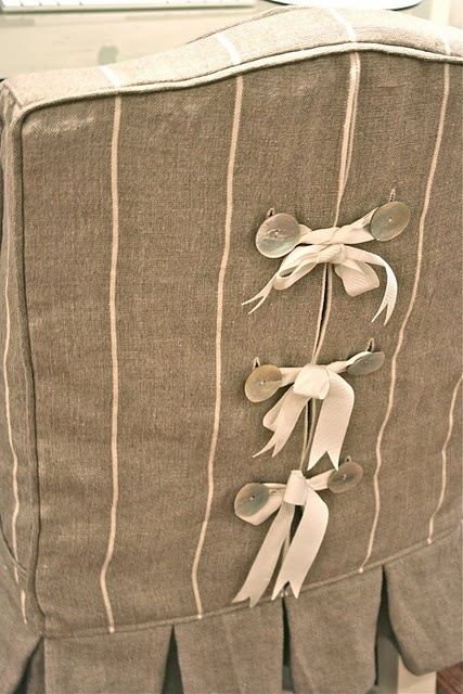 Slipcover ~ details, button, ribbon ties