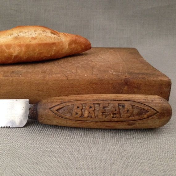 vintage bread knife with carved wooden by sophisticatedflorida