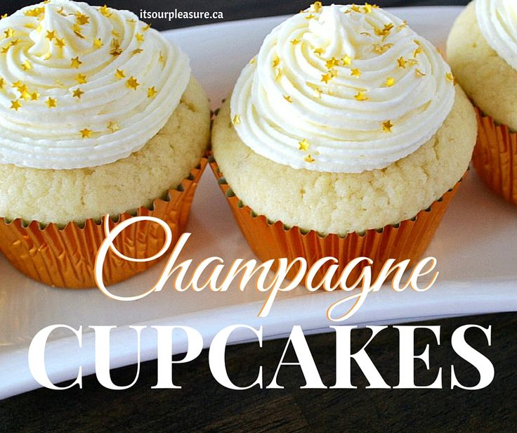 Celebrate with these Champagne Cupcakes! A classic vanilla cupcake with the elegant twist of champagne brings your sweet treat to a new level and will surely impress your guests.