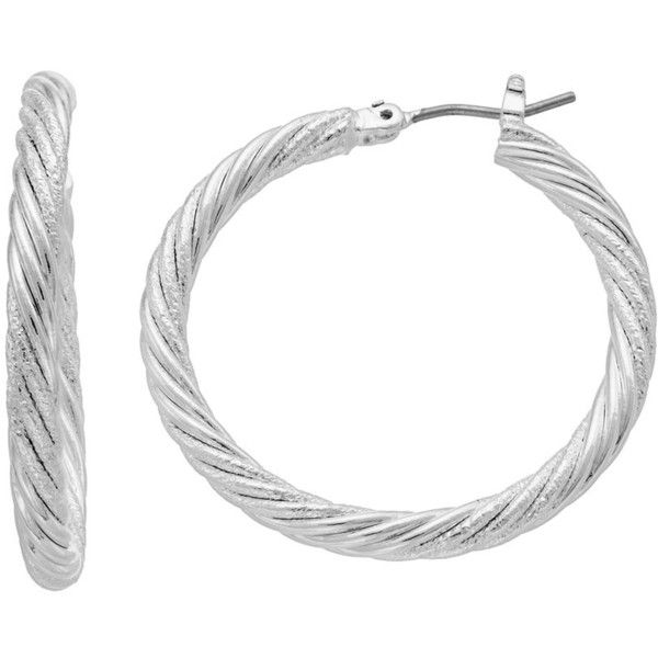 Napier Twisted Nickel Free Hoop Earrings ($11) ❤ liked on Polyvore featuring jewelry, earrings, silver, twisted hoop earrings, napier earrings, nickel free earrings, twist earrings and twist jewelry