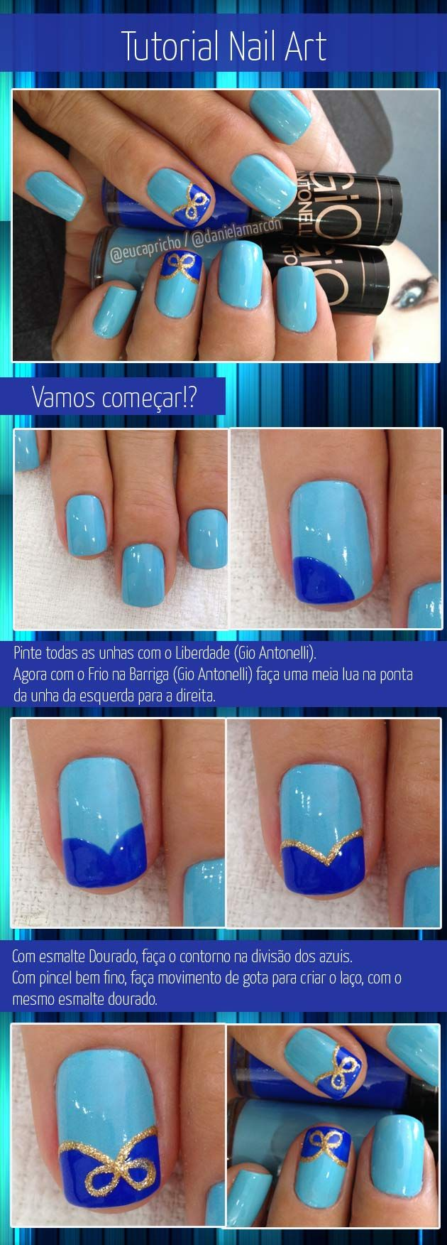 Nail art / unha decorada com esmalte azul, lindo e romântico
