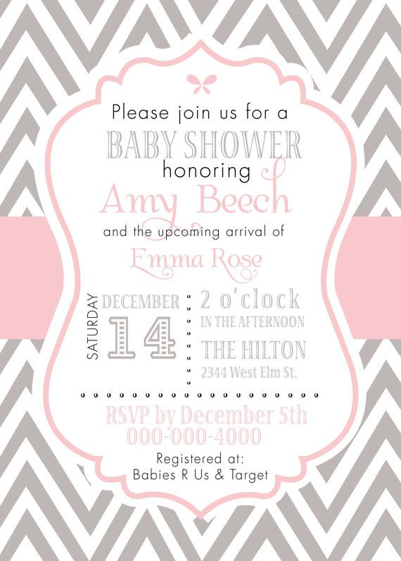 Baby girl shower invitation: gray and pink chevron