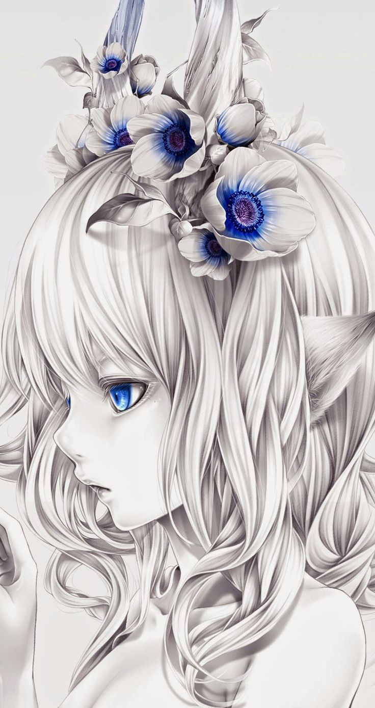 ↑↑TAP AND GET THE FREE APP! Anime & CartoonsArt Unicolor Art White For Girls Girly Flowers Pretty HD iPhone 6 Wallpaper