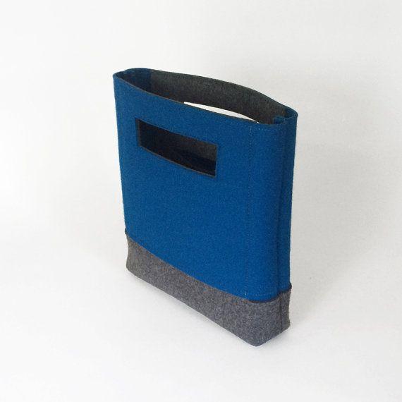 Bolso en azul y gris de fieltro de lana  Bolsa de fieltro