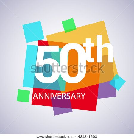 50th anniversary logo, 50 years anniversary colorful vector design. geometric background. - stock vector