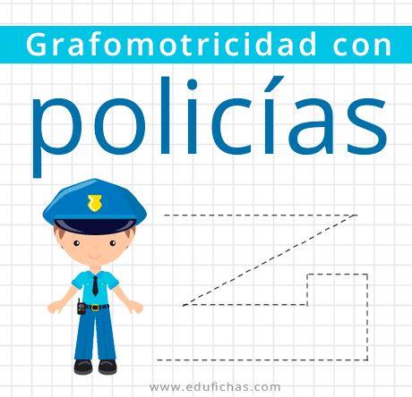 Fichas para niños con dibujos de policías. Repasa estas divertidas tareas para pre kinder de grafomotricidad con policías. Fichas y actividades gratis.