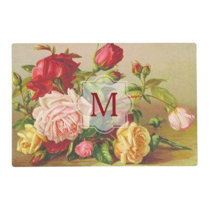 #createyourown #customize - #Monogram Vintage Victorian Roses Bouquet Flowers Placemat
