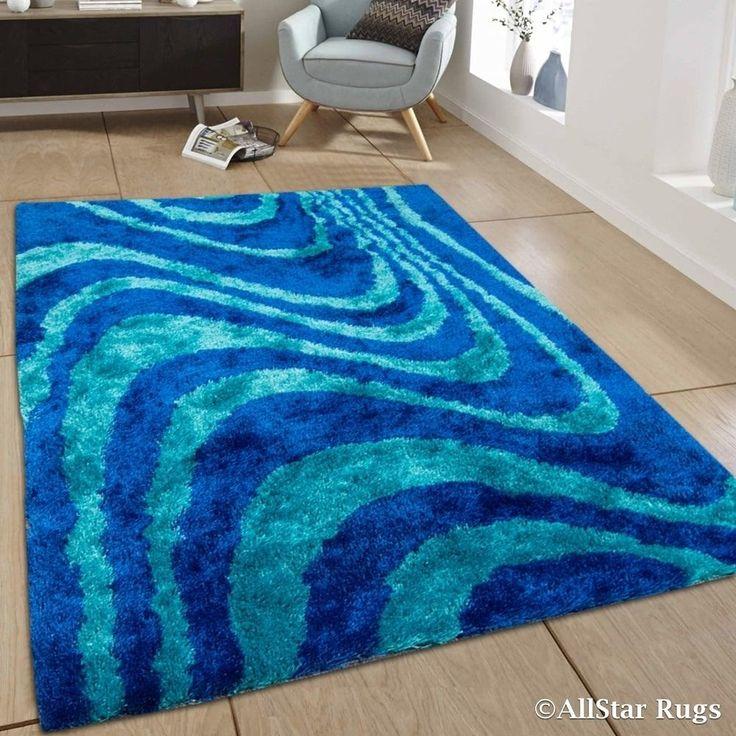 / Aqua Stripe Design Thick High Pile Rug