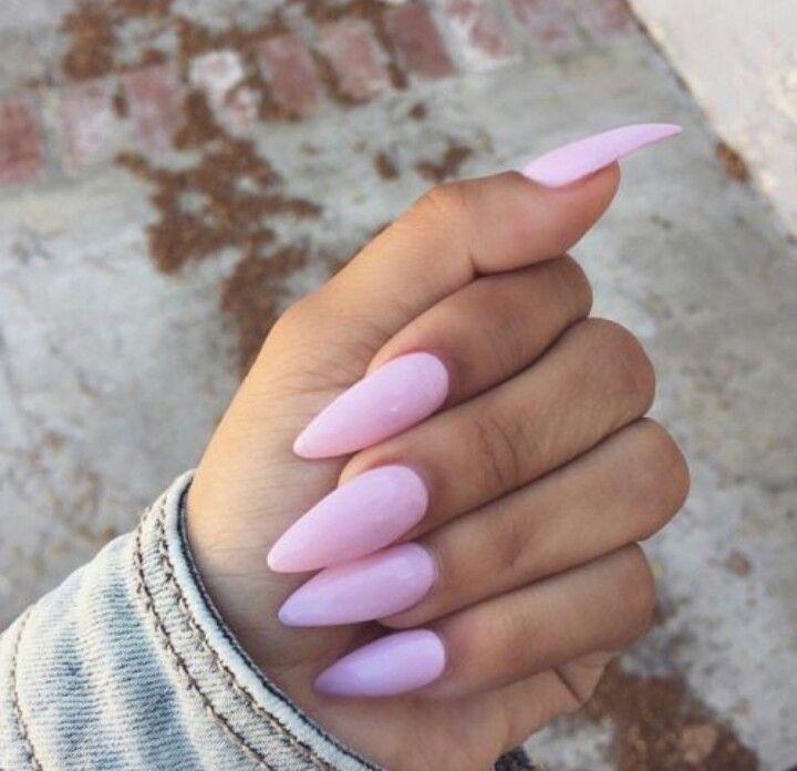 light pink almond shape acrylic nails nails 2