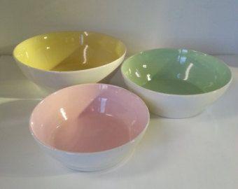 Vintage Retro VEB Steingutfabrik Torgau Set of Bowls / Nesting Bowls GDR