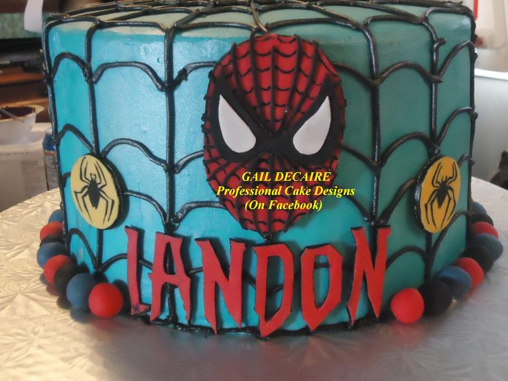 Spiderman Cake - Covered in Buttercream/No fondant - Only made fondant decoration)  Gail Decaire - Professional Cake Designs Like, Share & Follow me for upcoming tutorials on my facebook page