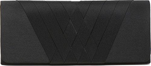 Clutch, Umhängetasche, Unterarmtasche aus Satin mit top modischer Band Aplikation mit abnehmbare Kette (120 cm), Farbe:Schwarz