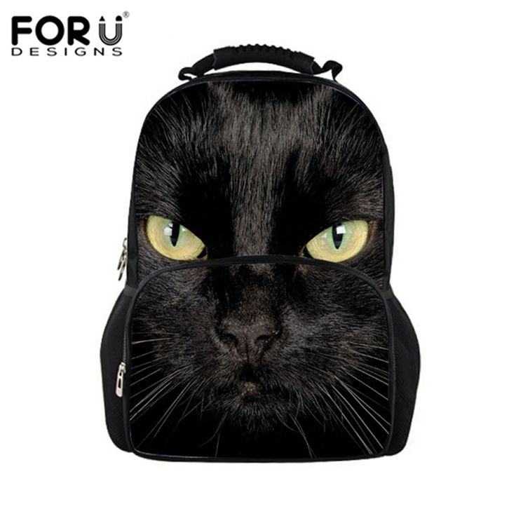 Black Cat Printing Backpacks for teenage girls school daypack, 2016 college women fashion laptop bag school backpack casual bags