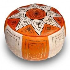 Orange & Natural Fez Star Pouf