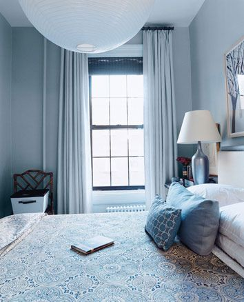 Tiny, pretty bedroom in shades of blue from Domino Magazine