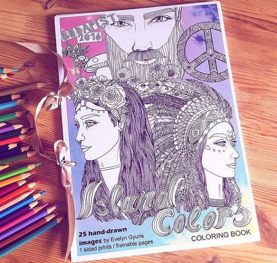 Coloring Book 25 Pages, Festival Styled Hand-drawn Detailed Pages, Island of Colors
