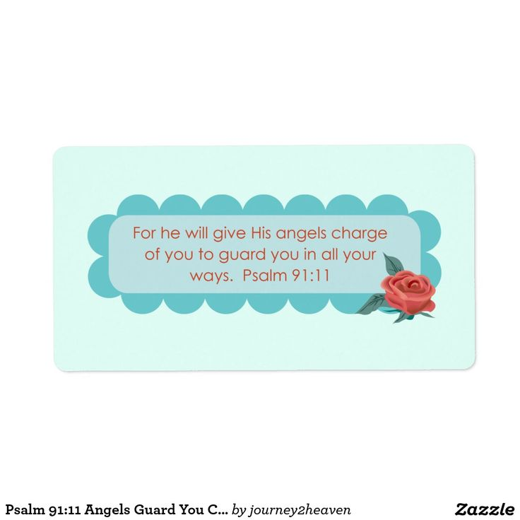 Psalm 91:11 Angels Guard You Christian Rose art Shipping Label