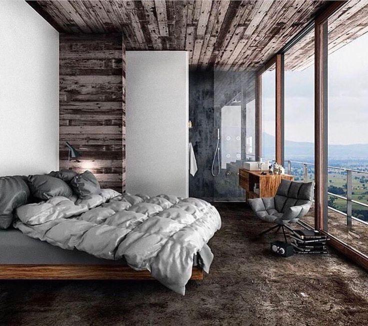 #wnętrza #sypialnia #trendy #aranżacje #mieszkanie #meble #drewno  #inspiracje #domiwnetrze  CGI House In Nature Proj. Jane Balaban Visualizer