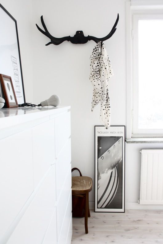 black antlers. Could buy faux antlers and paint them black so you cant tell they are faux. Use as hat rack or briefcase hook..