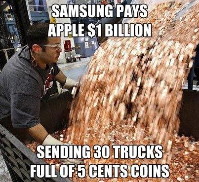 Samsung Bayar Denda $1 Billion Pada Apple dengan Koin 5 sen Sebanyak 30 Truk | Jeruk Nipis