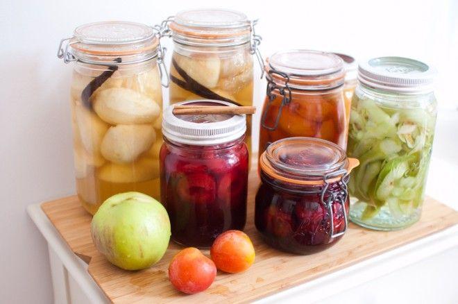 Preserve fruit, berries and vegetables Seasonal Food on  jars