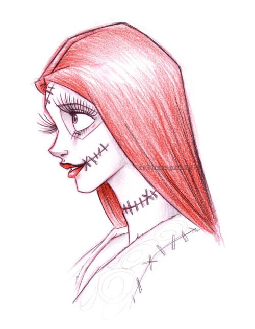 stitching from her mouth to her cheeks, she has more stitching on her body, there is smeared blood on them