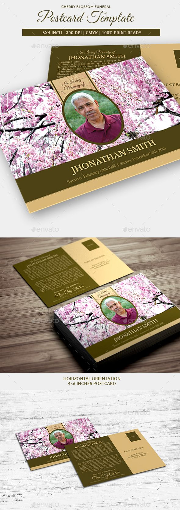 Cherry Blossom Funeral Program Postcard Template, great for any memorial or funeral events. All text and graphics in the files ar