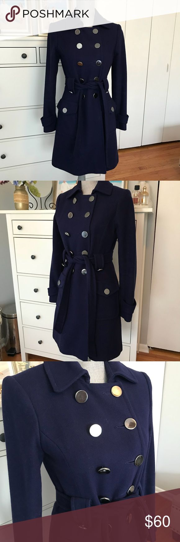 Oasis royal blue coat Beautiful feminine coat. Kate Middelton-like. Size XS. Can fit size S as well. Gorgeous metallic silver buttons. Oasis Jackets & Coats