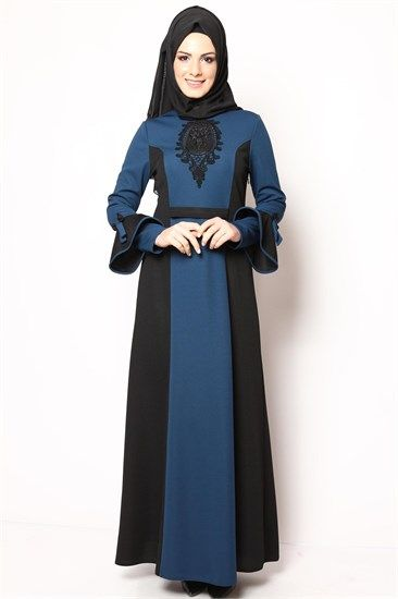 Sırt Düğmeli Tesettür Elbise Petrol Siyah NB 2428