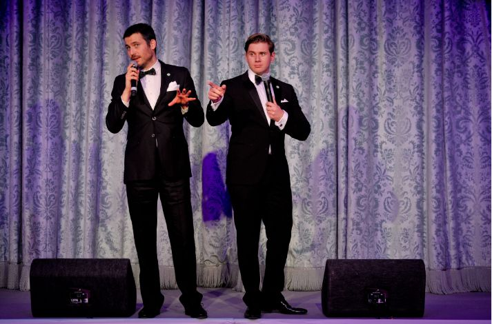 Rob James-Collier and Allen Leech on stage at the Downton ...