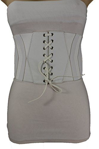 34543eb42f5 Trendy Fashion Jewelry Women Sexy Fashion Corset Belt Hip High Waist Wide Elastic  Faux Leather S M White