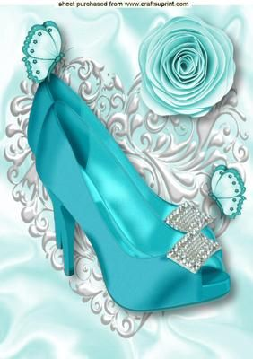 TURQUOISE DIAMOND SHOE A4 on Craftsuprint - Add To Basket!