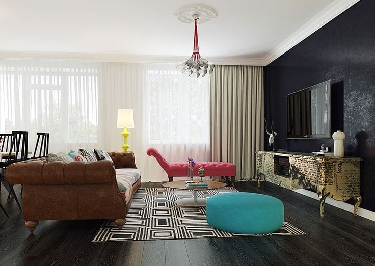 Black Wall With Tv Blue Sofa And Pink Brown Leather Plus Wooden Laminating Floor Large White Curtain Gold Table Modern Pop Art Design
