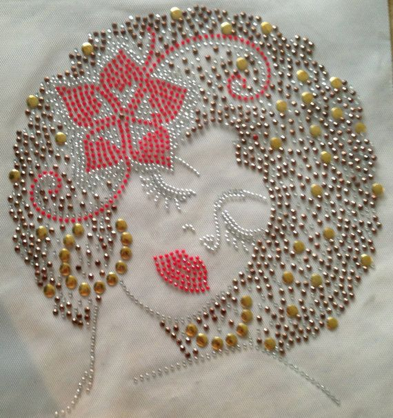 Afro Lady Brown Stud with Red Rhinestone Flower by HeavenlySparkle, $12.00