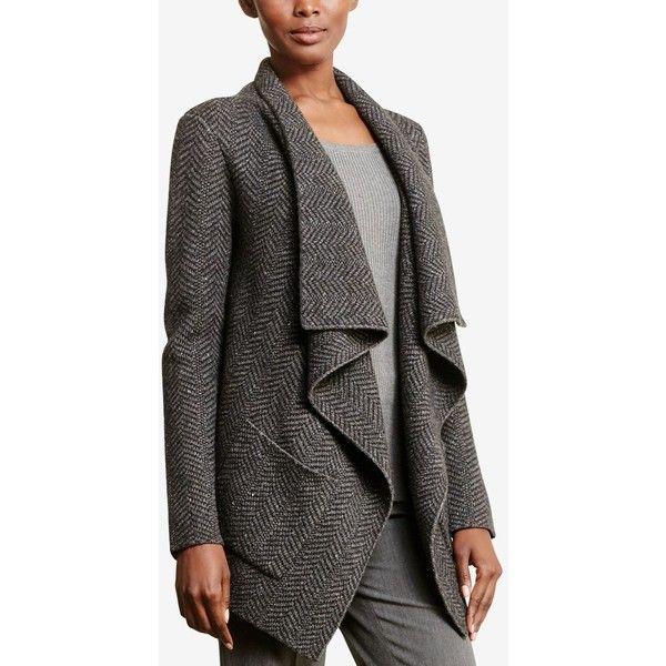 Lauren Ralph Lauren Wool Herringbone Cardigan ($225) ❤ liked on Polyvore  featuring tops,