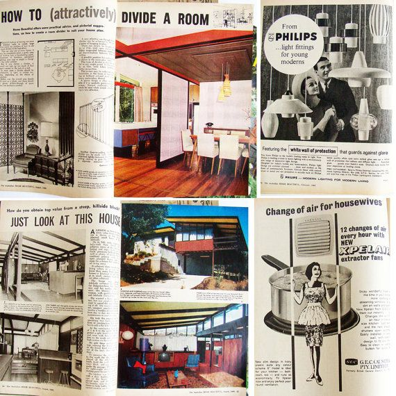 1960s Home Beautiful Magazines, Vintage Advertising, Mid