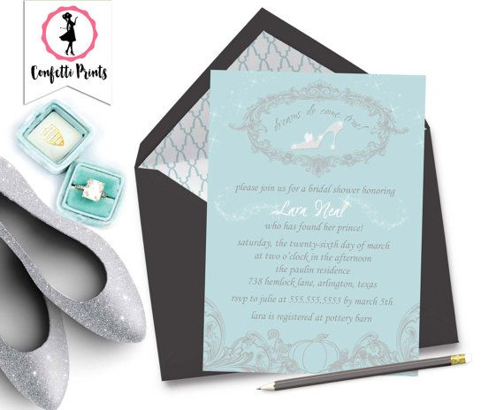 CINDERELLA Princess Bridal Shower Invitation | Princess Bridal Shower Invite | Disney Wedding | Fairy Tale Wedding | Printable